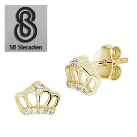14krt gouden Meisjes oorkbellen met kroontje