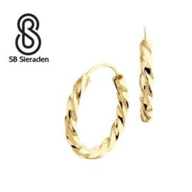 """Gouden creolen """"gedraaid"""" 15mm diameter"""