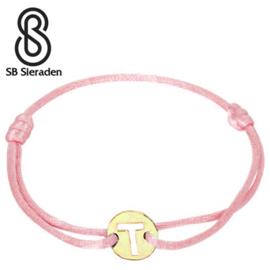 14krt Gouden LETTER armband met satijnkoord.