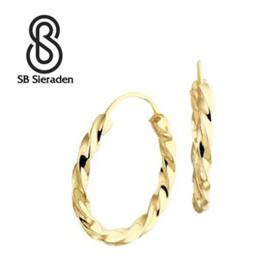 """Gouden creolen """"gedraaid"""" 17mm diameter"""