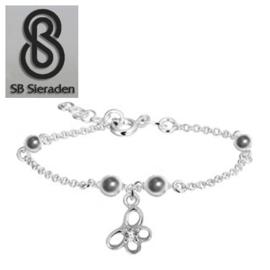 Meisjesarmband - Zilver VLINDER Bedel met zirconia steentje