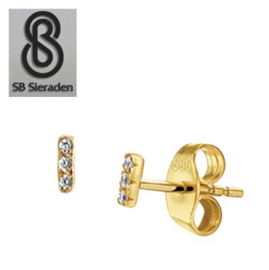 14krt gouden oorknopjes met 3 diamantjes