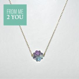 Ketting met 2 kleurig Fluoriet - From Me To You - Goldfilled-14k