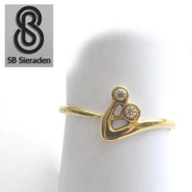 14krt echt gouden ring met zirconia's