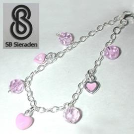 Meisjesarmband - Zilver met 7 roze  bedeltjes