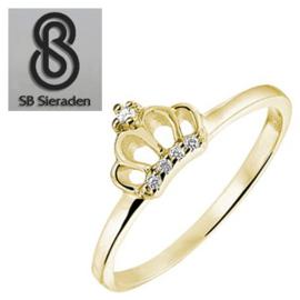 14krt gouden Meisjes ring met kroontje