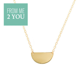 Ketting met glimmende HALVE MAAN - From Me To You - Goldfilled-14k