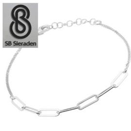 Fijne armband - met CLOSED FOR EVER schakels - Echt Zilver 925