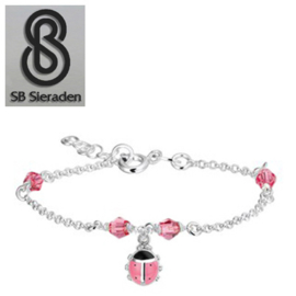 Meisjesarmband - Roze Swarovski kristal en roze LIEVEHEERSBEESTJE Bedel