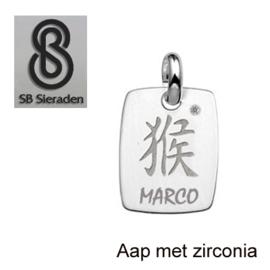 Chinees sterrenbeeld met zirconia - handgemaakt van Echt zilver.