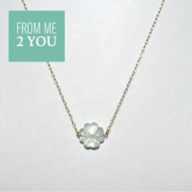 Ketting met LICHTGROEN Fluoriet - From Me To You - Goldfilled-14k