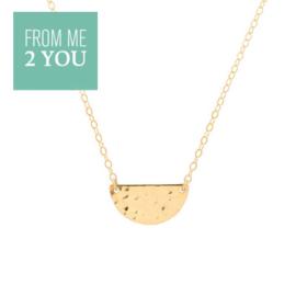 Ketting met gehamerde HALVE MAAN - From Me To You - Goldfilled-14k