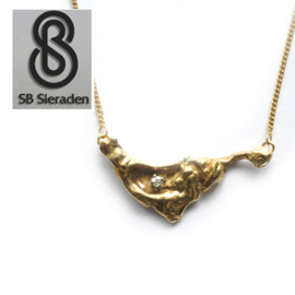 14krt gouden MODERNE BRILJANT hanger met collier
