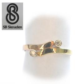 14krt  tricolor gouden ring met ZIRCONIA's