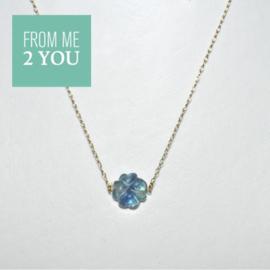 Ketting met BLAUWGROEN Fluoriet - From Me To You - Goldfilled-14k
