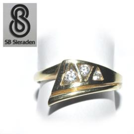 14krt gouden ring - FANTASIE model met 3 zirconia's