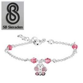 Meisjesarmband - Roze Swarovski kristal en roze parelmoer VLINDER Bedel