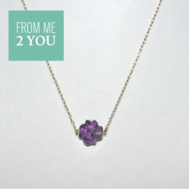 Ketting met PAARS Fluoriet - From Me To You - Goldfilled-14k