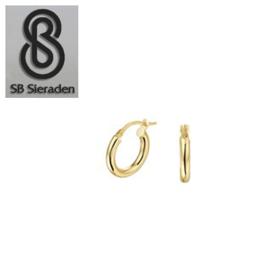 14krt  geel gouden - CREOLEN 15mm - met zilveren kern =  EXTRA stevig!