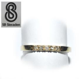 14krt gouden ring - met 5 Briljanten - RIJRING