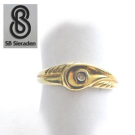 14krt echt gouden ring FANTASIE model met DIAMANT