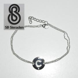 Zilveren LETTER armband met Zirconia steentjes