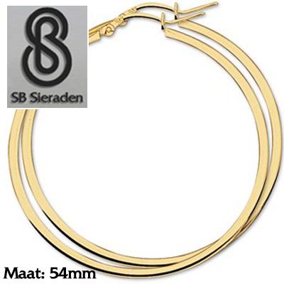 Gouden creolen Vierkante buis 54mm diameter