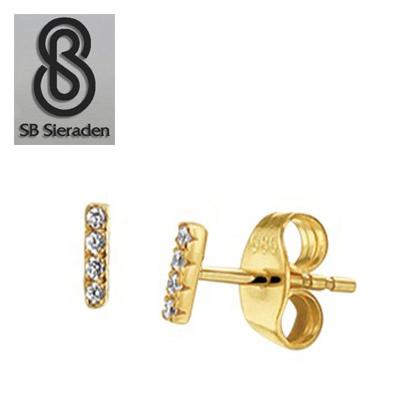14krt gouden oorknopjes met 4 diamantjes