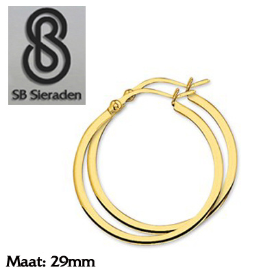 Gouden creolen Vierkante buis 29mm diameter