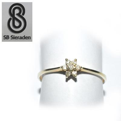 14krt gouden ring - met 7 Briljanten -rozet