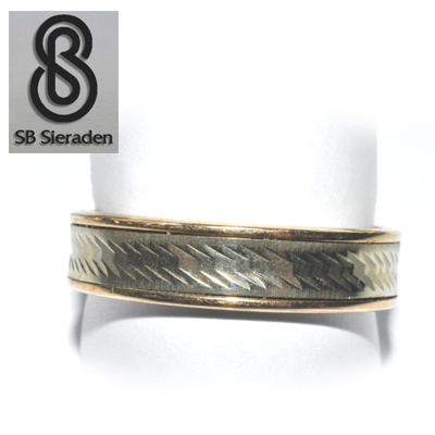14krt gouden ring - Fantasie model - BICOLOR goud