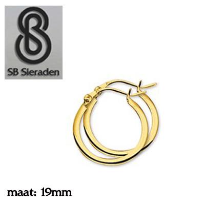 Gouden creolen Vierkante buis 19mm diameter