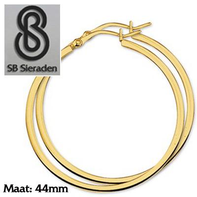 Gouden creolen Vierkante buis 44mm diameter