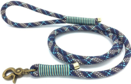 Hondenlijn touw (Donker blauw-Turquoise-Bruin)