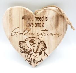 Houten hart Golden Retriever