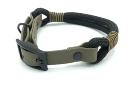 Halsband touw met biothane (zwart)