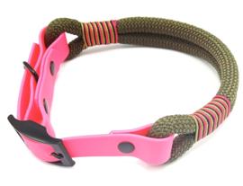 Halsband touw met biothane (olijfgroen)