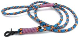 Hondenlijn touw (blauw-Oranje-Zwart)