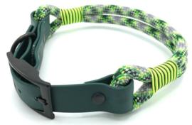 Halsband touw met biothane (donkergroen-neon groen-neongeel-zwart)
