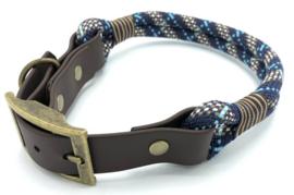 Halsband touw met biothane (Donker blauw-Turquoise-Bruin)