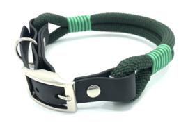 Halsband touw met biothane (donkergroen)