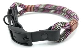 Halsband touw met biothane (Licht roze-Roze-Licht bruin-Zwart)