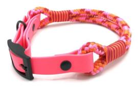 Halsband touw met biothane (Roze-Oranje-Rood