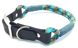 Halsband touw met biothane (Zwart-Lichtbruin-Turquoise-Mint)