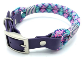 Halsband touw met biothane (roze-paars-turquoise-teal-mint)