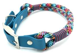 Halsband touw met biothane (zwart-turquoise-teal-roze)