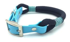Halsband touw met biothane (donkerblauw)