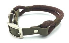 Halsband touw met biothane (bruin)