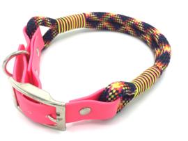 Halsband touw met biothane (zwart-roze-rood-geel-oranje)