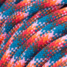 Halsband touw met biothane (Teal-Rood-Oranje-Bruin-Licht roze)